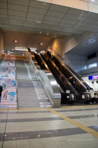 escalator and stairs at Chiba Monorail station