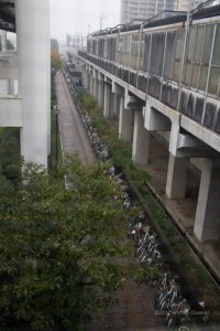 hundreds of bicycles parked at the station