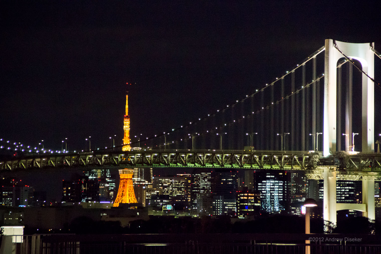 Tokyo Tower, seen from Odaiba, through the Rainbow Bridge.