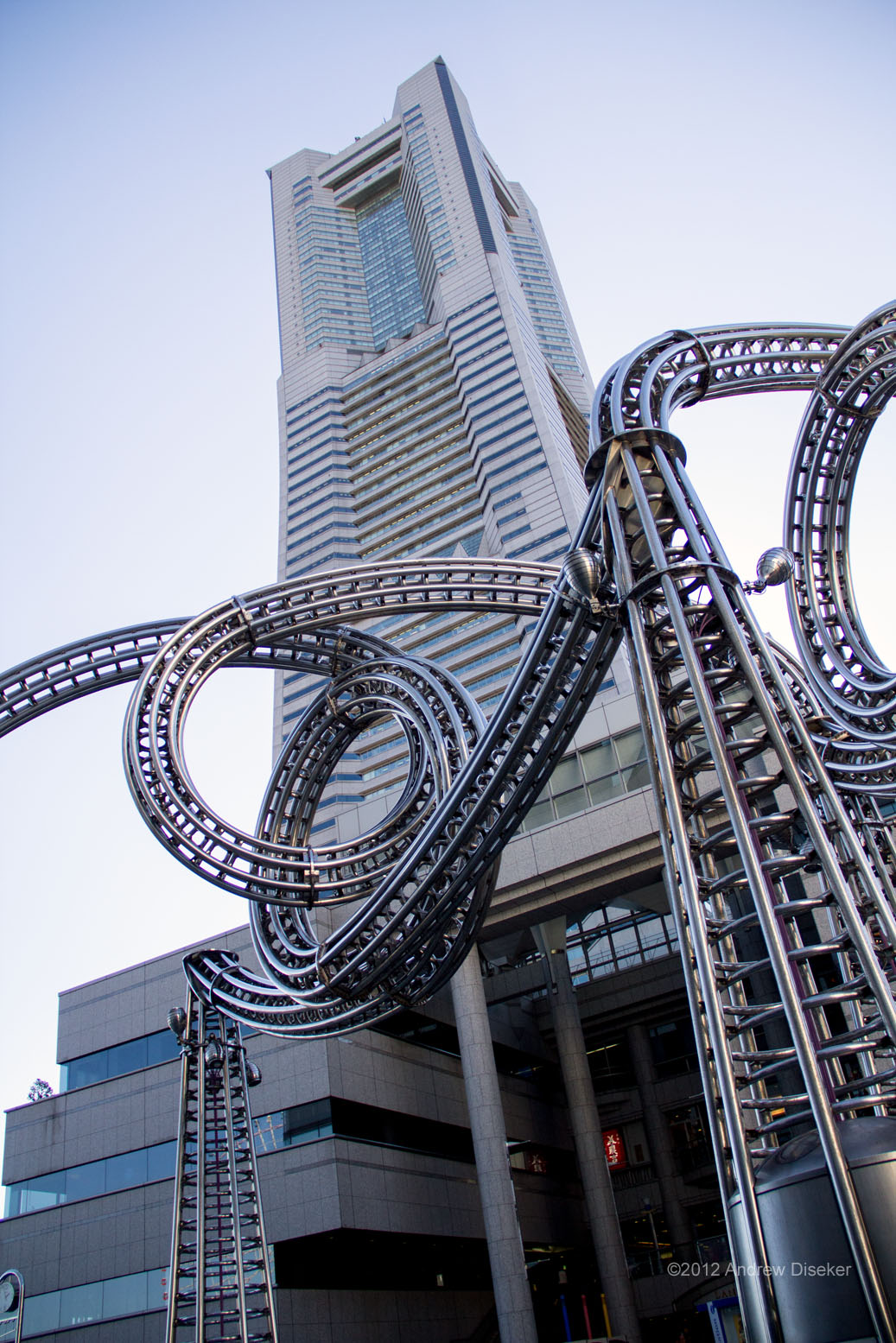 Landmark Tower viewed through a sculpture in the Landmark plaza