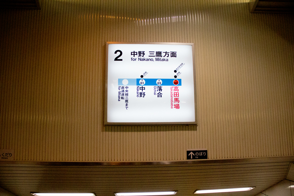 Tokyo train sign with only three stations showing