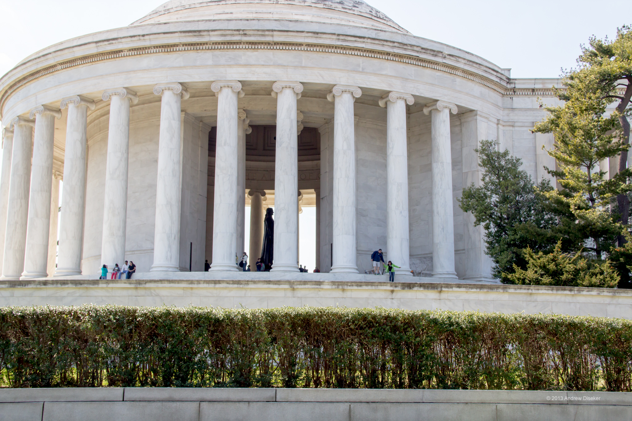 View inside Jefferson Memorial with statue of Thomas Jefferson