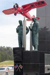 "Pangborn and Herndon, unsung heroes of aviation history, along with ""Miss Veedol!""  This monument is right at the entrance to the grounds of the Misawa Aeronautics and Science Museum, in Misawa, Japan."